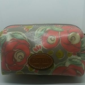 NEW Fossil Canvas Coated Cosmetic Bag